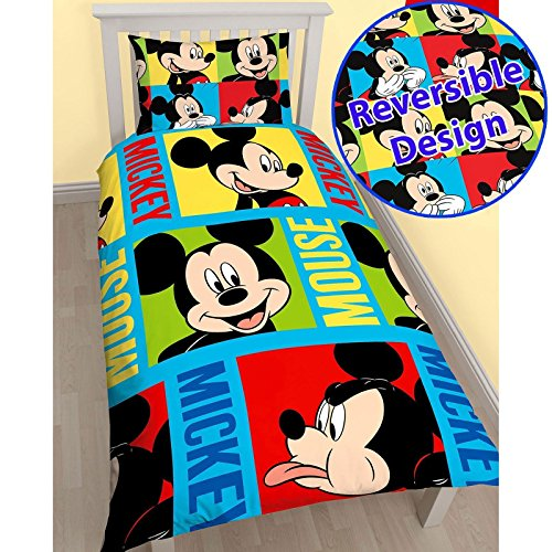 Mikrofaser-cami-set (Mickey Mouse Bright Bettbezug Sets Single Bettwäsche, MICKEY MOUSE PRINT, 135CM X 200CM (53IN X 78IN))