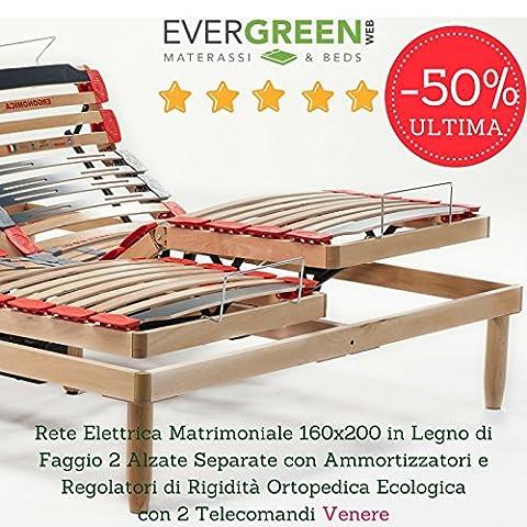evergreenweb–réseau 2personnes 160x 200motorisé électrique à lattes en bois en hêtre avec 2surélever séparées inclinable + 2télécommandes + 2moteurs, orthopédique avec régulateurs de rigidité et amortisseurs, écologique 100% Made in Italy