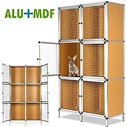 Clapier à lapin 6 cases - Cage lapin, rongeurs Aluminium 6 Cages pour lapins Intérieur Extérieur Hauteur 160 cm