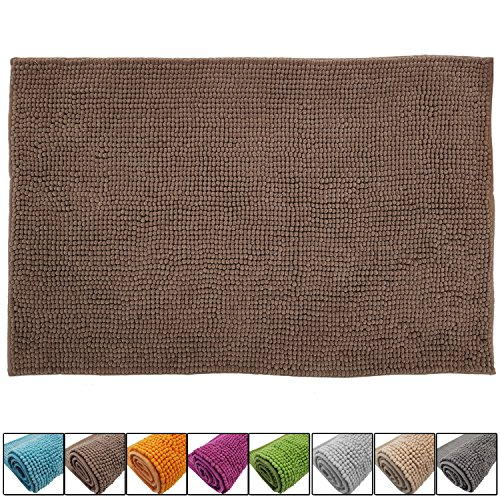 SunDeluxe Chenille Badematte Größen, Badteppich aus Microfaser nach ÖKO TEX Standard 100, Welness Badeteppich/Duschvorleger, Größe:60 x 90 cm, Farbe:Taupe