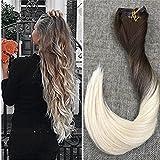 """Ugeat 22""""/55cm Balayage Color Clip in Hair Extensions 120Gram 9Pcs #4/60 Color Marron con Rubio Clip in Extensiones de Cabello Humano Natural"""