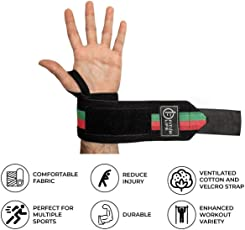 Fitup Life Black Red Green Gym Wrist Support (One Pair) with Non Slip Grip {Imported}