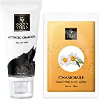 Good Vibes Skin Care Combo - Activated Charcoal Peel Off Mask (100 g) and Chamomile Soothing Sheet Mask (20 ml)