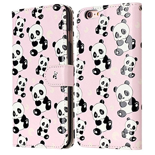 "MOONCASE iPhone 6 Plus/iPhone 6s Plus Handyhülle, [Colorful Relief Pattern] Stoßfest Ganzkörper Schutzhülle mit Ständer Leder Tasche Case für iPhone 6s Plus 5.5"" Bear Panda"
