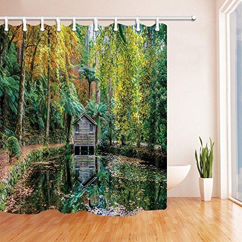 3D Digital Druck Forest Duschvorhang House seitenverkehrt Reflection in Wasser Polyester-Schimmelresistent-Badezimmer Dekoration Bad Vorhänge Haken enthalten 179,8x 179,8cm - Rod Runde Druck-vorhang