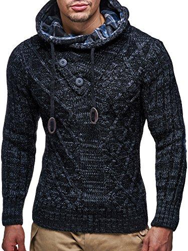 LEIF NELSON Herren Pullover Hoodie Kapuzenpullover Strickpullover Longsleeve Sweater Sweatshirt Pulli LN10346 Schwarz