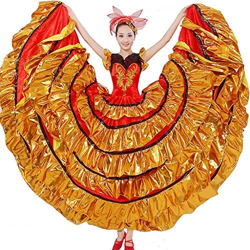Tanz Kostüme Swing Ballroom (Wgwioo frauen flamenco kleid rock minderheit leistung kostüme eröffnung moderne tanz blühende blüte big swing chorus spanische stierkampf , picture color ,)