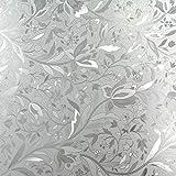 Elton 3D Window Films Privacy Film Self Adhesive Decorative Film for Bathroom Door Window Heat Control Anti UV (Lotus Flower)16 x 48 inches