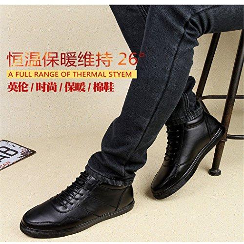 HHY-Confortevole e informale breathableLeather scarpe uomo inverno re, eleganti scarpe casual black-Add cotton