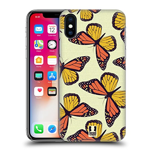 Head Case Designs Poseidon Verde Pattern Farfalle Cover Retro Rigida per Apple iPhone X Monarca