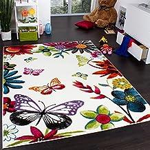 Tappeto Per Bambini Colorato E Allegro Con Farfalle E Fiori Crema Multicolore, Dimensione:120x170 cm - Fiori E Farfalle