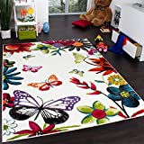 Teppich Kinderzimmer Schmetterling Bunt Kinderteppich Butterfly Creme Mehrfarbig, Grösse:160x220 cm
