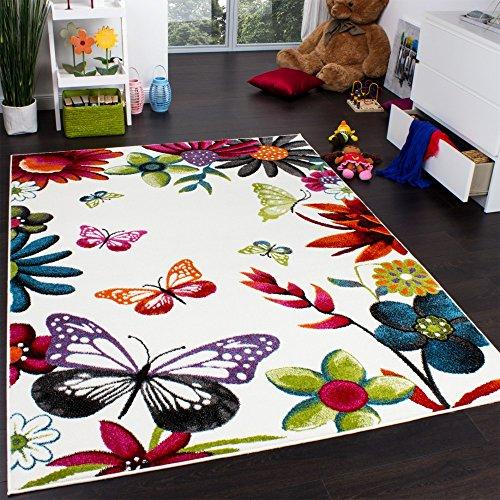 Teppich Kinderzimmer Schmetterling Bunt Kinderteppich Butterfly Creme Mehrfarbig, Grösse:80x150 cm