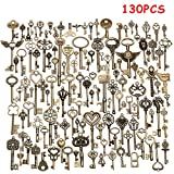 Jeteven 130pcs Retro Schlüssel Anhänger Bronze Silber Vintage Schmuck Basteln Key Kette Halskette Armband antik Deko 10mm-85mm