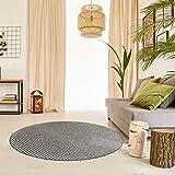 Premium Schlingen Teppich Matterhorn rund - Farbe wählbar / schadstoffgeprüft robust und pflegeleicht / u.a. für Wohnzimmer Schlafzimmer Flure Büros und auch für Fußbodenheizung geeignet, Farbe:Anthrazit, Größe:100 cm rund