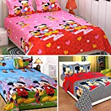Sky Tex Super Saver Trio Of 3 Micky Mouse Printed 140 TC Cotton Double Bed Sheet With 6 Pillow Covers