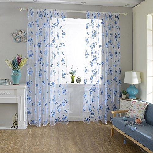 Blume Fenster Tüll Vorhang Sheer Fall Trennwand Home Schlafzimmer Decor, Voile, blau, Einheitsgröße Vorhang-rod-spannung