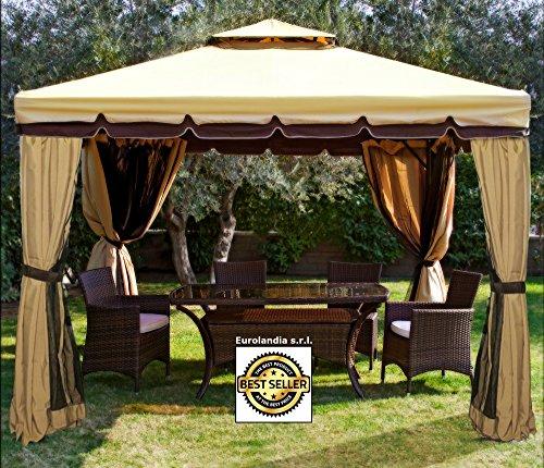 Gazebo 3x3 giardino in alluminio copertura 450 gr. antipioggia zanzariere e teli laterali