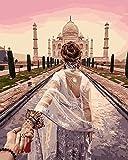 Dorara DIY Ölgemälde Farbe nach Anzahl Hand Lackierungen 16 × 20 Zoll Taj Mahal