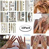 Tattoo Tätowierung Metallic Tattoos Temporäre Tattoo Aufkleber Glitzer Tattoo 10 Sheets für Frauen Jugendliche Mädchen MEHRWEG (Schwarzes Gold)