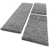 Bedside Runner Rug / 3-Part Carpet Runner Set / Shaggy Carpet in Grey, Size:2x 60x100 1x 70x250 cm
