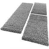 PHC Bettumrandung Läufer Shaggy Hochflor Langflor Teppich in Grau Läuferset 3Tlg, Grösse:2mal 70x140 1mal 70x250