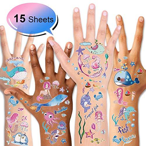 os Set, 15 Blatt Fische / Delfine/ Meerjungfrauen Ozean Motive Kinder Spielen Temporary Tattoos für Mädchen Jungen Kindergeburtstag Mitgebsel ()