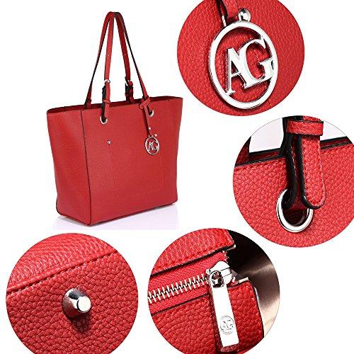 Damen Ebene Faux Leder Texturiert Tote Tasche - Oben Griff Handtasche Mit Weich Und Gemütlich Strap - Silber Metall Arbeit Um Das Tasche Rot