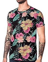 ALIKEEY Top De Manga Corta Estampado Hombre Blusa Superior con Floral  Casual para Vestir Fiesta Gemelos Cuadros Elegantes Hilfiger Marca… fbd89260d792