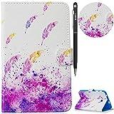 WIWJ Hülle Case für Samsung Galaxy Tab 3 Lite 7.0 SM-T110/T111/T113,Ultra Slim Gemalt Schutzhülle Tasche Case Mit Schlaffunktion 3D lackiertes Lederhülle-Aquarell Feder