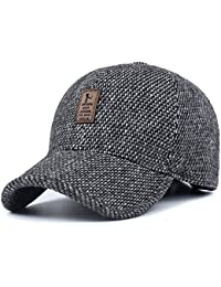 Sombrero de Gorra de béisbol de Lana de Tweed de Lana cálida de Invierno de  los Hombres con Doblez… 7bb2c07792e