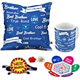 Indigifts Rakhi Gifts For Brother Pyara Bhaiya With Roli, Chawal, Rakshabandhan Greeting Card & Best Brother Love You Blue Printed 12x12 Cushion With Filler & Best Quality Ceramic Mug Perfect Gift Combo For Brother Bhaiya