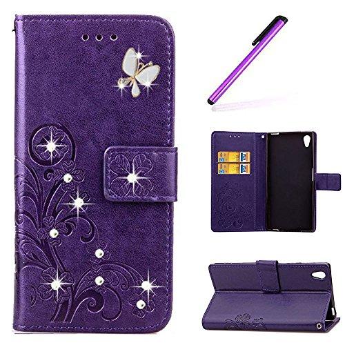 EMAXELERS Sony Xperia Z2 Hülle Schmetterling PU Leder Lederhülle Flip Tasche Wallet Schutzhülle Etui Bookstyle Handyhülle Hülle für Sony Xperia Z2,Diamond Purple Clove with Butterfly