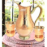 Prisha India Craft ® Copper Jug ( Royal JUG 2000 ML / 67.63 Oz ) With Two Glass Drinkware Set Of Jug And Glass - Copper Jug Glass Set - Tumbler Set - Diwali Gift