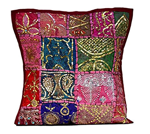 An Ethnic Embroidery Sequin Patchwork Throw Pillow Cases Cushion Cover (Maroon)