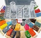 Rocailles 4mm Perlen 25 Farben (25x10g) + BOX 25 DOSEN Basteln set DIY B18 AM56