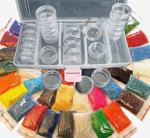 Rocailles 2mm Perlen 25 Farben (25x10g) + BOX 25 DOSEN Basteln set DIY B18AM50