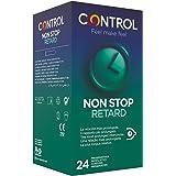 Control Non Stop Retard Preservativos- Caja de condones retardantes para una relación más prolongada, lubricados, ajuste perf