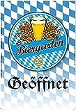 Biergarten Geöffnet, oktoberfest, bayern, schild aus blech, tin sign,