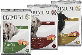 Primum | Halbfeuchtes Trockenfutter | 72% Fleisch | natürlich getreidefrei | aus Deutscher Lebensmittelproduktion | Beste Akzeptanz und Verträglichkeit für Ihren Hund