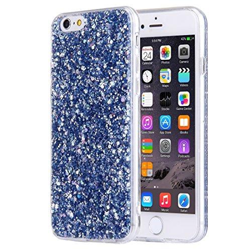 Wkae Case Cover Für iPhone 6 &6s Blitz-Puder-TPU-Schutzhülle mit Lanyard ( Color : Dark Blue ) Dark Blue