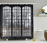 KCOUU Industrie Decor Kollektion, Old Großes Fenster mit Scheiben in Einem verlassenen Hall Near Wald Bäume Winter Time-Stil, Polyester Duschvorhang, aus Stoff, Extra Lang, Grau