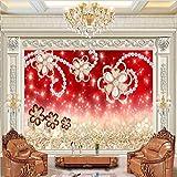 LHDLily 3D Tapete 3D Wallpaper Fresken Wandbilder Verdicken Diamant Schmuck Blumen Schmuck Tv Vertrag Große Tapeten Home Decor 350Cmx250Cm