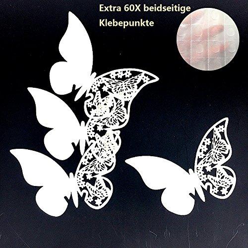 ElecMotive 50 Stück Schmetterling Tischkarten Namenskarten Glasanhänger Wandsticker für Tischdeko Hochzeit Party Haus Deco (Beige)