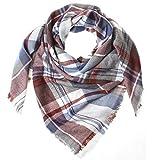 Distressed XXL Damen Oversized Schal Ÿbergro§er Deckenschal Karo Plaid Muster kariert Poncho - weiss-blau-braun
