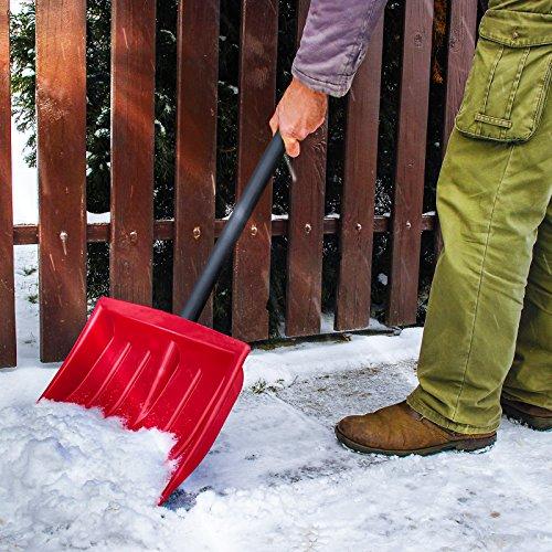 Jago Schneeschaufel (1er/Rot) | mit Alu-Eiskante, inkl. Stiel aus Stahlrohr, in 1er oder 2er, in 3 Farben: Blau, Rot, Schwarz | Schneeschieber, Schneeräumer, Schneeschippe