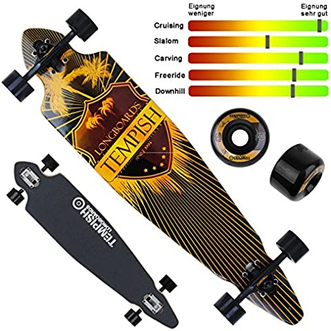 'Longboard Allegro 100x 23cm/39x 9–Skateboard completo–legno d' acero canadese–ABEC 7–Fun madre Sliding