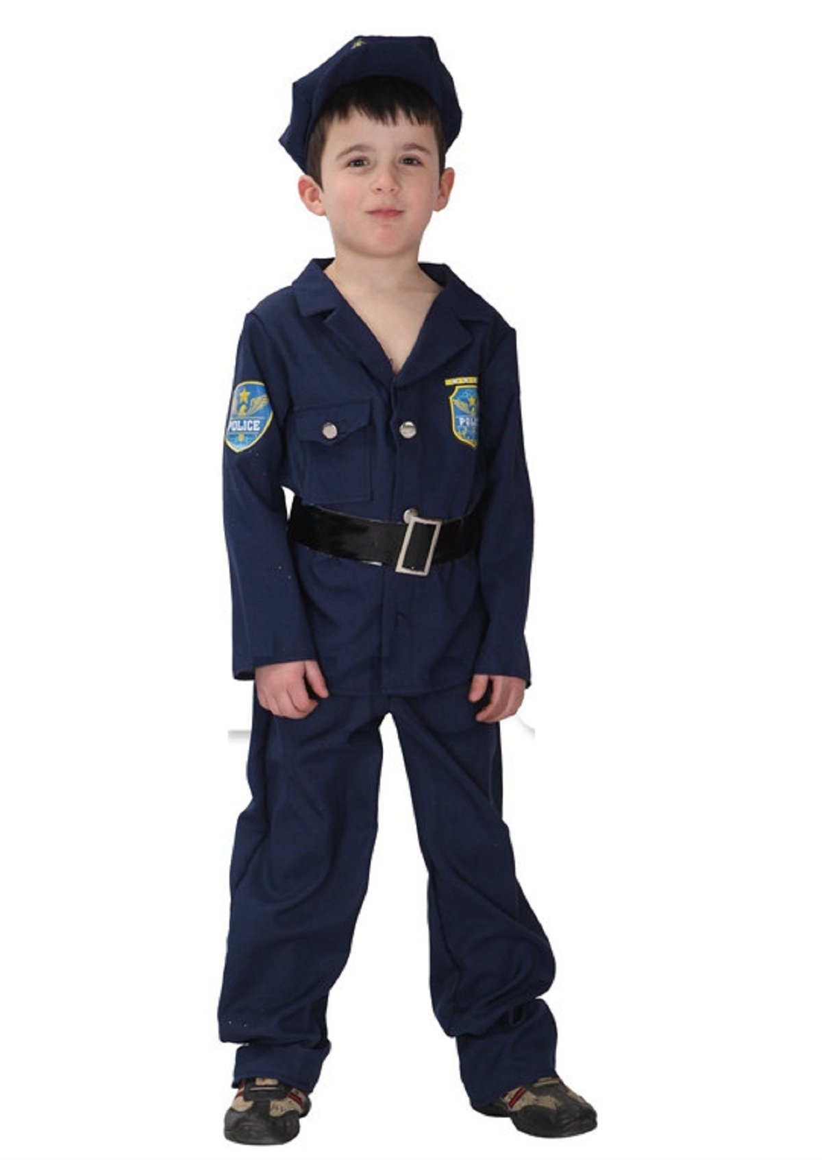 selezione speciale di originale più votato design innovativo Dettagli su Costume Da Poliziotto Per Bambini Halloween Carnevale ( Taglia  L 120-130 (z9v)