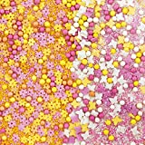 BackDecor Streudeko Set Frühling| Blümchen | Schmetterlinge | Perlen | Nonpareilles | Glitzerzucker | Rosa - Gelb - Weiß