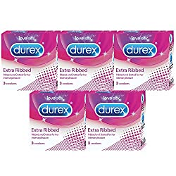 Durex Condoms - 3 Count (Pack of 5, Extra Ribbed)